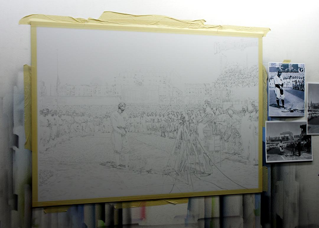 Lou Gehrig Painting Underdrawing