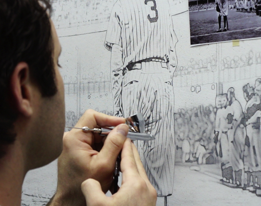 Babe Ruth Painting in Progress