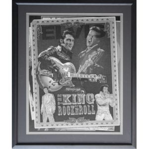 Elvis - King of Rock N Roll Drawing Framed
